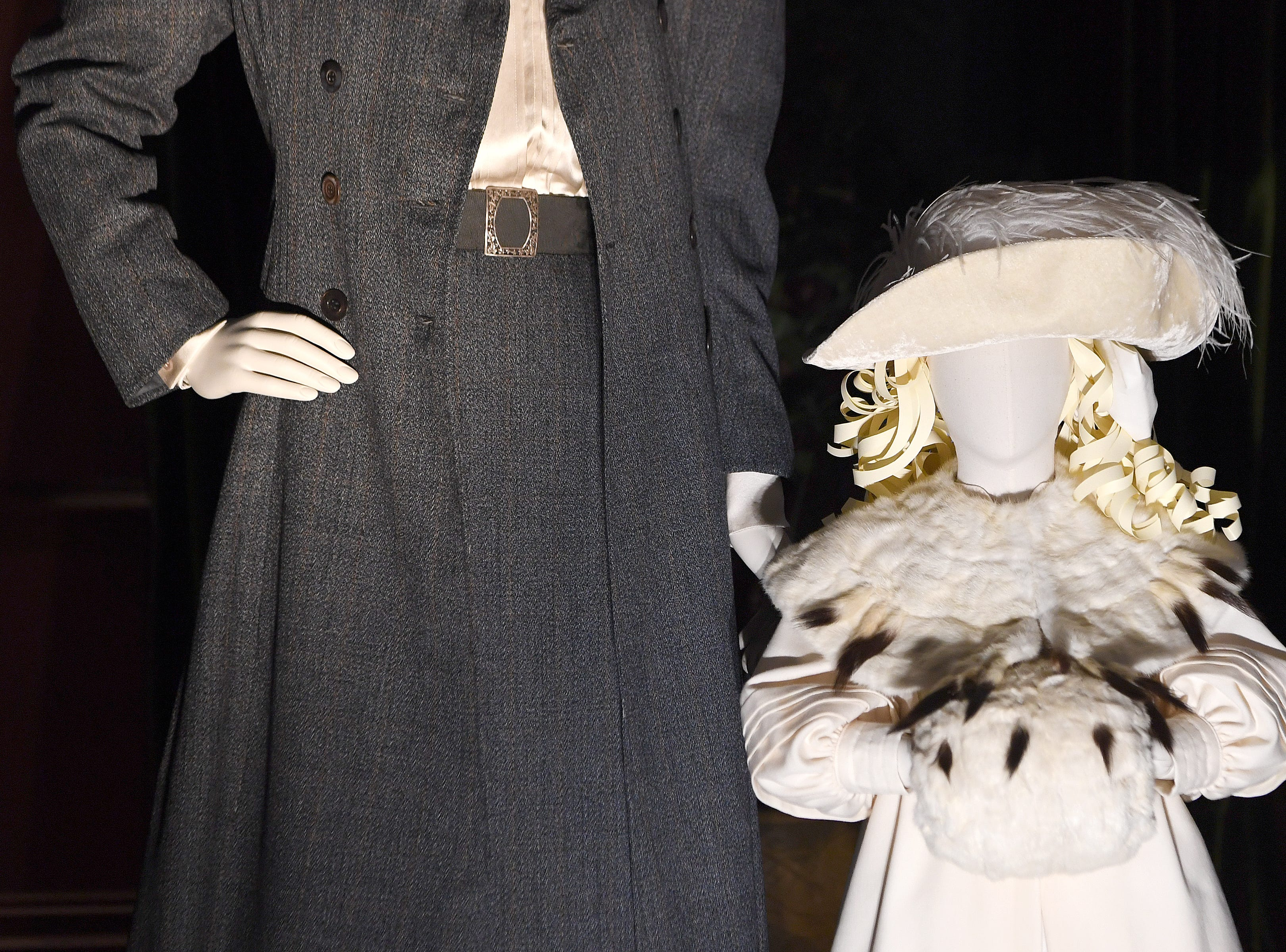 """Outfits created from photographs of Pauline Dresser Merrill, Edith Vanderbilt's sister, and Cornelia Vanderbilt, showing what they would wear around the grounds of the estate are on display for """"A Vanderbilt House Party, the Gilded Age,"""" on Feb. 7, 2019."""