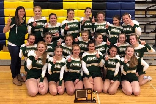 The Pennfield competitive cheer team won its first Interstate 8 Conference title.