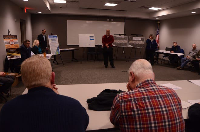 Marshall City Manager Tom Tarkiewicz talks at an open house on Feb. 11, 2019, regarding a joint project between the city of Marshall, the Michigan Department of Transportation and Consumers Energy to replace downtown Marshall's gas and water mains and repave the road.