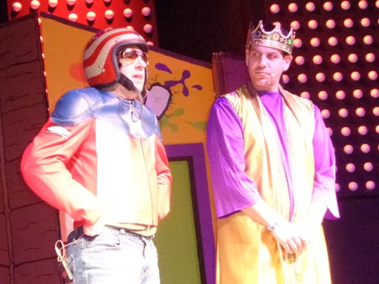 Tim Skinner, left, who plays the human shield; and Brian Smith, right, who plays King Solomon, act out a scene during a recent performance of Kidstuf at New Life Ministries in Endicott.  Kidstuf uses theater, music and dancing to teach children and families virtues.