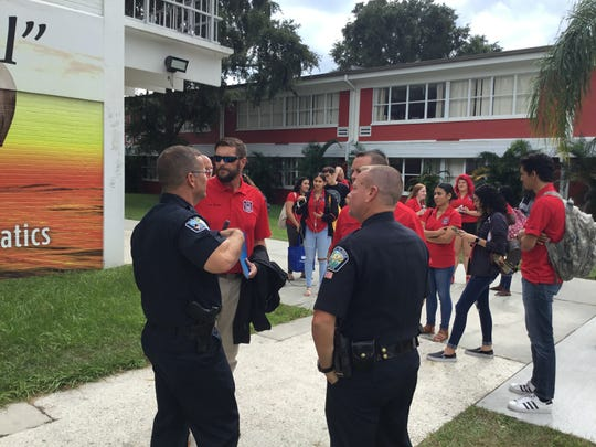 """Law enforcement across the Space Coast have been solidifying their relationships with schools - including students, parents, teachers and administrators - in hopes of preventing scary situations before they develop. Last year, Palm Bay police meet with students as part of the """"Pirates 2 Police"""" program at Palm Bay High Magnet's law school program."""