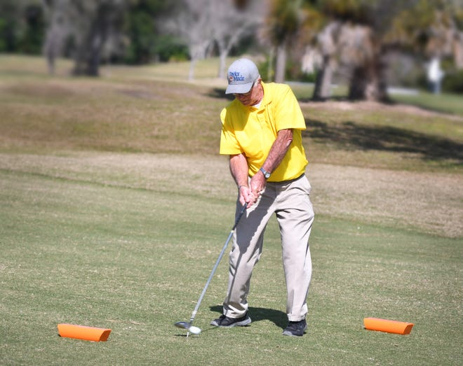 Jesse Starkey tees off from one of the new executive tees at The Savannahs Golf Course on Merritt Island. The new tees will be available starting Feb. 16.