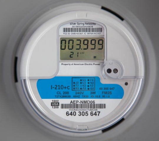 An American Electric Power smart meter.