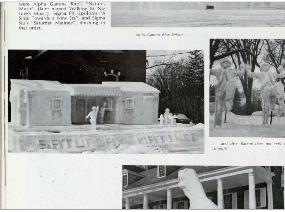 "UVM Ariel yearbook staff in 1970 wrote a label for the image on the right stating, ""[...] Racism does not exist on the UVM campus?"""