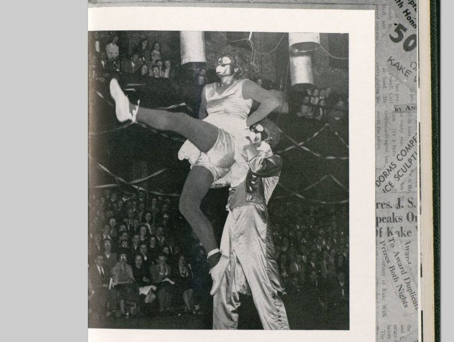 An image of Kake Walk 1948 shows two fraternity brothers performing in blackface to crowds of ticket holders at the University of Vermont
