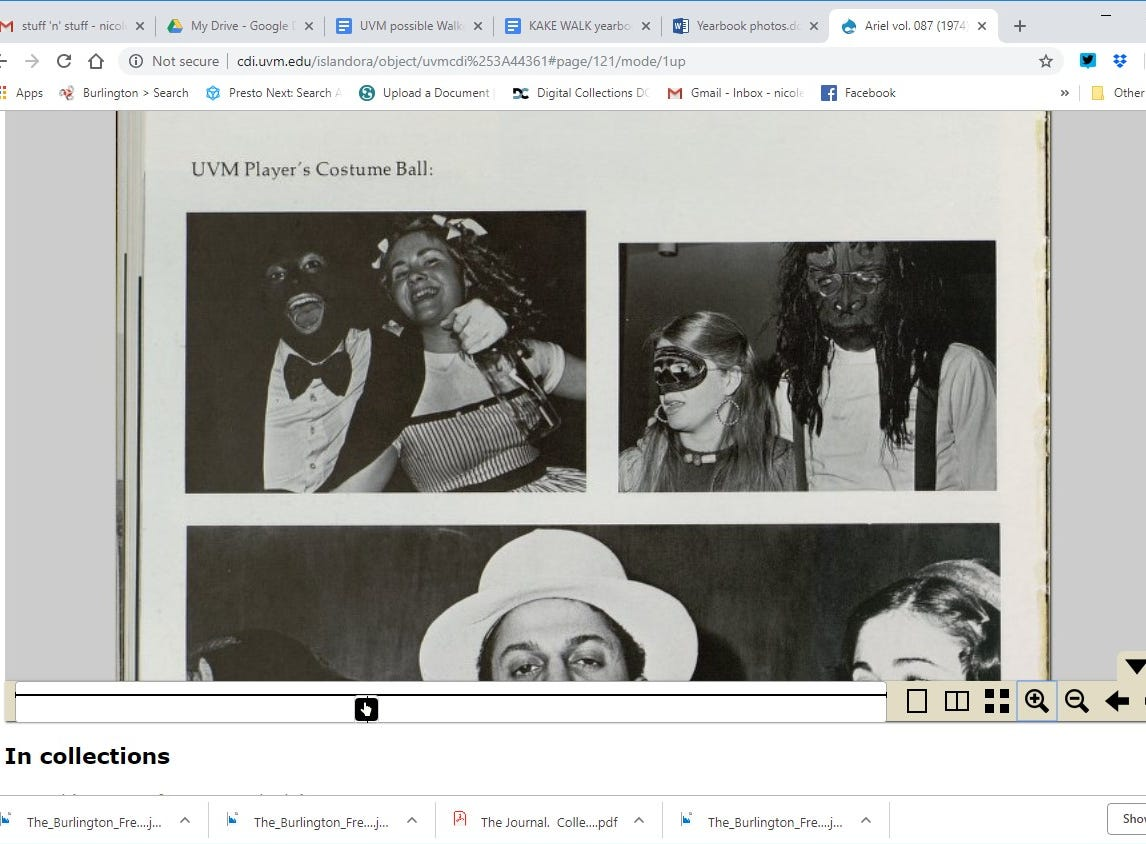 "UVM's Ariel yearbook from 1977 shows a person in what appears to be blackface under a page labeled, ""UVM Player's Costume Ball."""