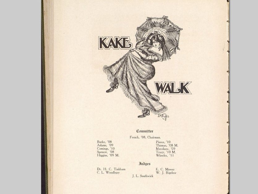 Kake Walk 1909 shows a white woman performing, but performers would likely have used blackface. Skits or stunts mimicking top Vaudeville acts of the day were also becoming part of the event.