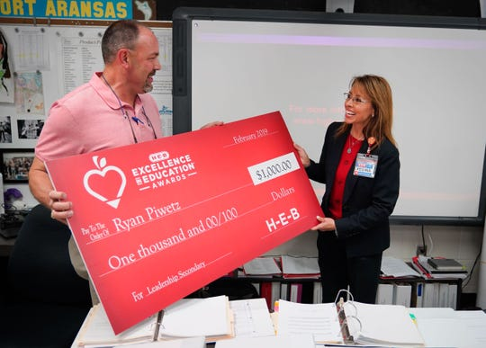 Ryan Piwetz is announced as a finalist for the 2019 H-E-B Excellence in Education Awards Monday, Feb. 11, 2019, at Port Aransas High School.