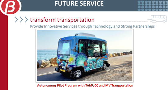 A slide from a Feb. 12, 2019 presentation by the Corpus Christi RTA highlighting an autonomous vehicle pilot program in the works with Texas A&M University-Corpus  Christi.