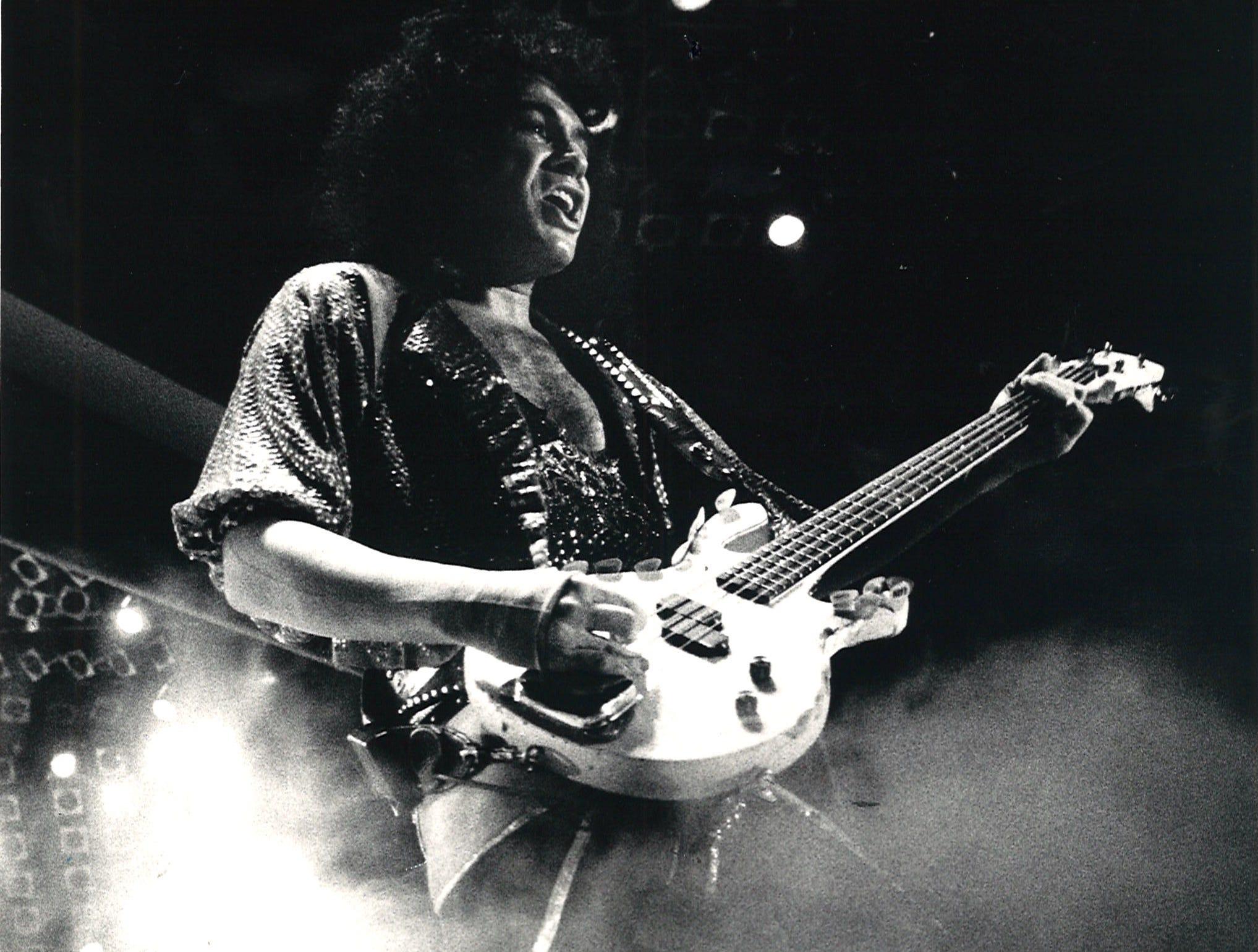 Kiss's Gene Simmons emerges from the fog at Corpus Christi's Memorial Coliseum on Feb. 24, 1986.