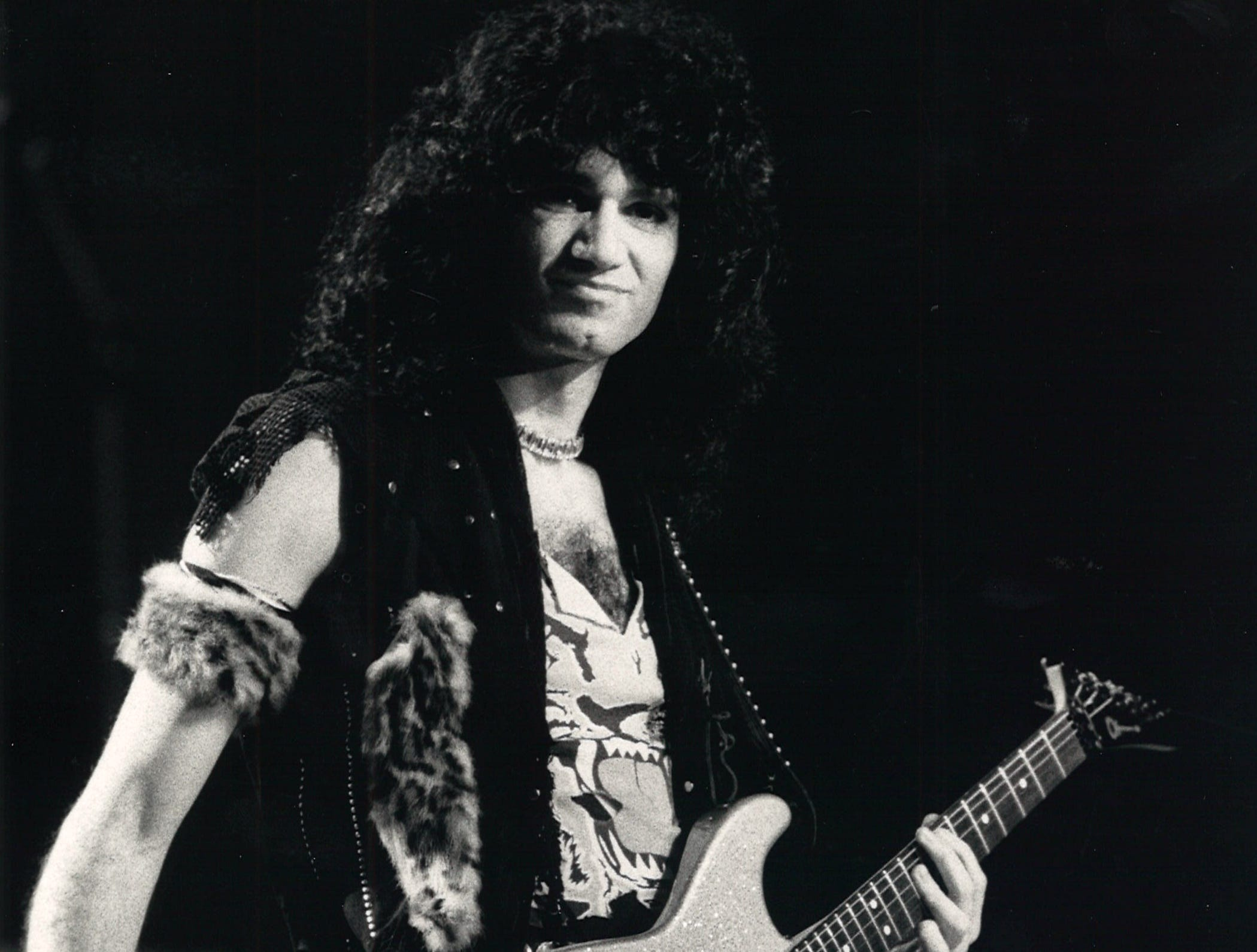 Bruce Kulick, new member of Kiss, performs during a concert at Memorial Coliseum on Jan. 27, 1985 in Corpus Christi.