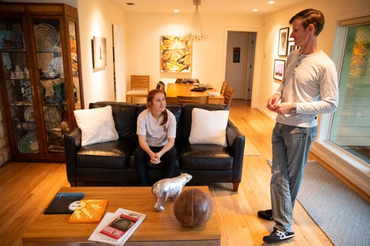 Claire Naismith talks with her dad Robert in their Corpus Christi home about her great-great-grandfather James Naismith, the innovator of basketball on Saturday, Feb. 9, 2019.