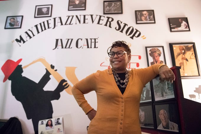 Gail Harris, owner of May the Jazz Never Stop Jazz Cafe, stands inside the jazz cafe that she opened in Haddon Heights.