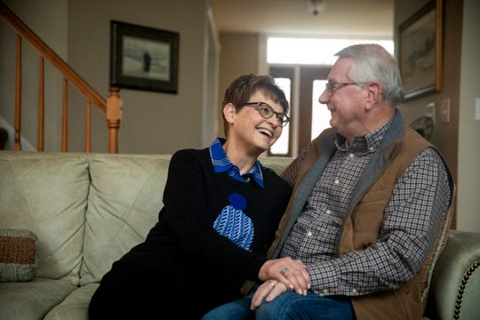 "Bobbi and Steve Freeburne sit in their home in Union, Ky.  Tuesday, February 5, 2019. The couple met in 1968 in rural Kansas. They will celebrate 50 years of marriage this year. ""I mean after 50 years, it is a warm fuzzy feeling,"" Bobbi explains what love feels like. ""He's still my best friend. He's still the person that I would choose to live with."""