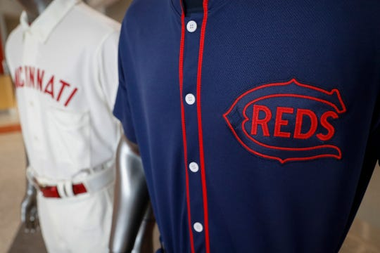 A few of The Cincinnati Reds baseball team uniforms for the 2019 season.
