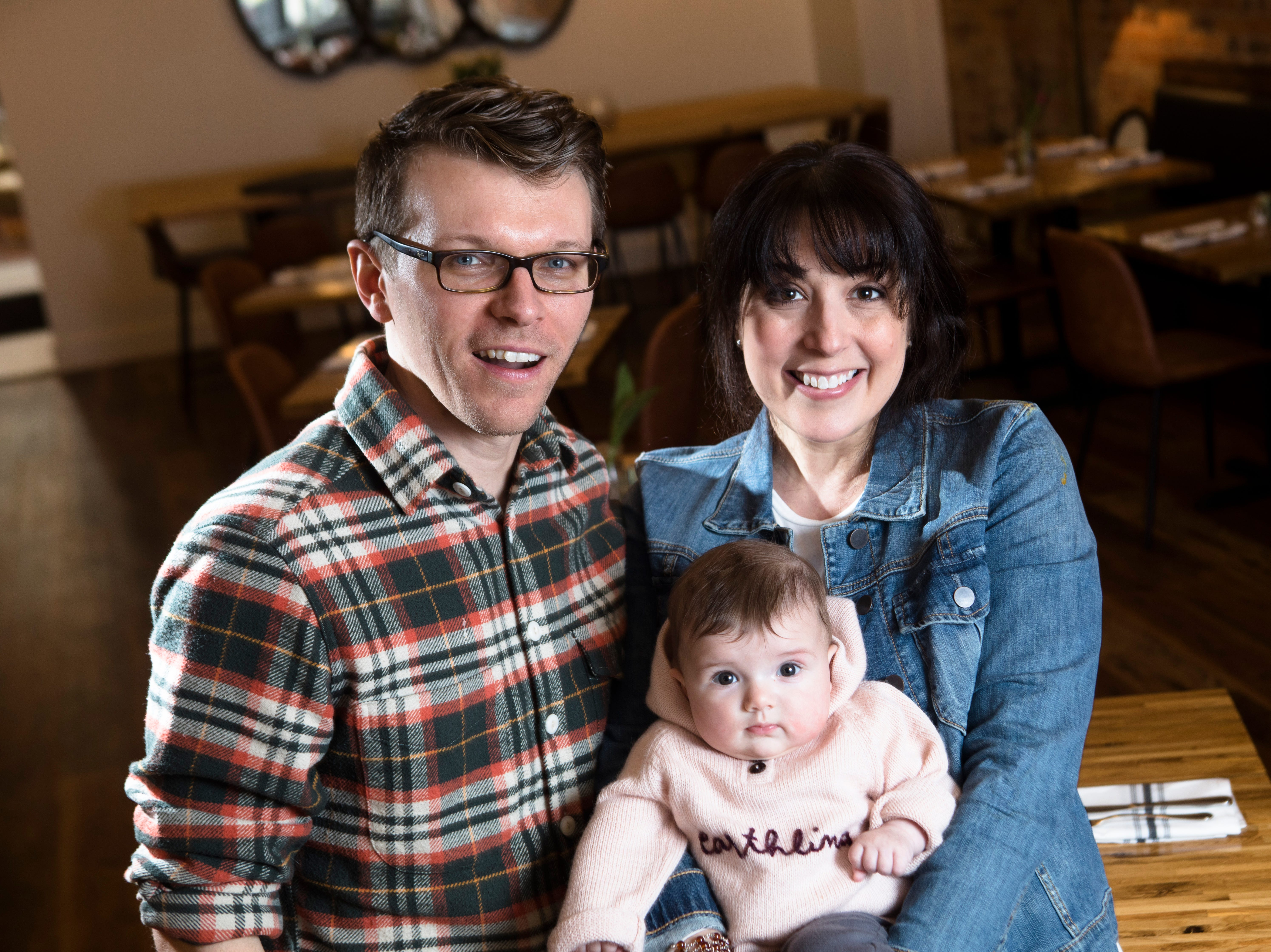 Owner of at The Bakers' Table David Willocks and Wendy Braun with their daughter, Willow Willocks at the restaurant in Newport, Ky., on Tuesday, Feb. 12, 2019.