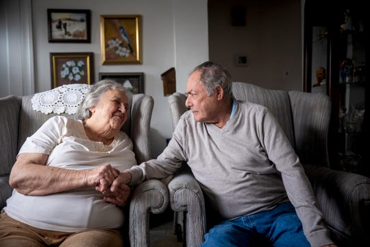 "Teresa and Mike Battaglia sit in their home in Centerville, Ohio Wednesday, February 6, 2019. The couple has been together for 65 years. ""I don't think you really love somebody when you first get married,"" said Teresa. ""I think you learn as you go along."""