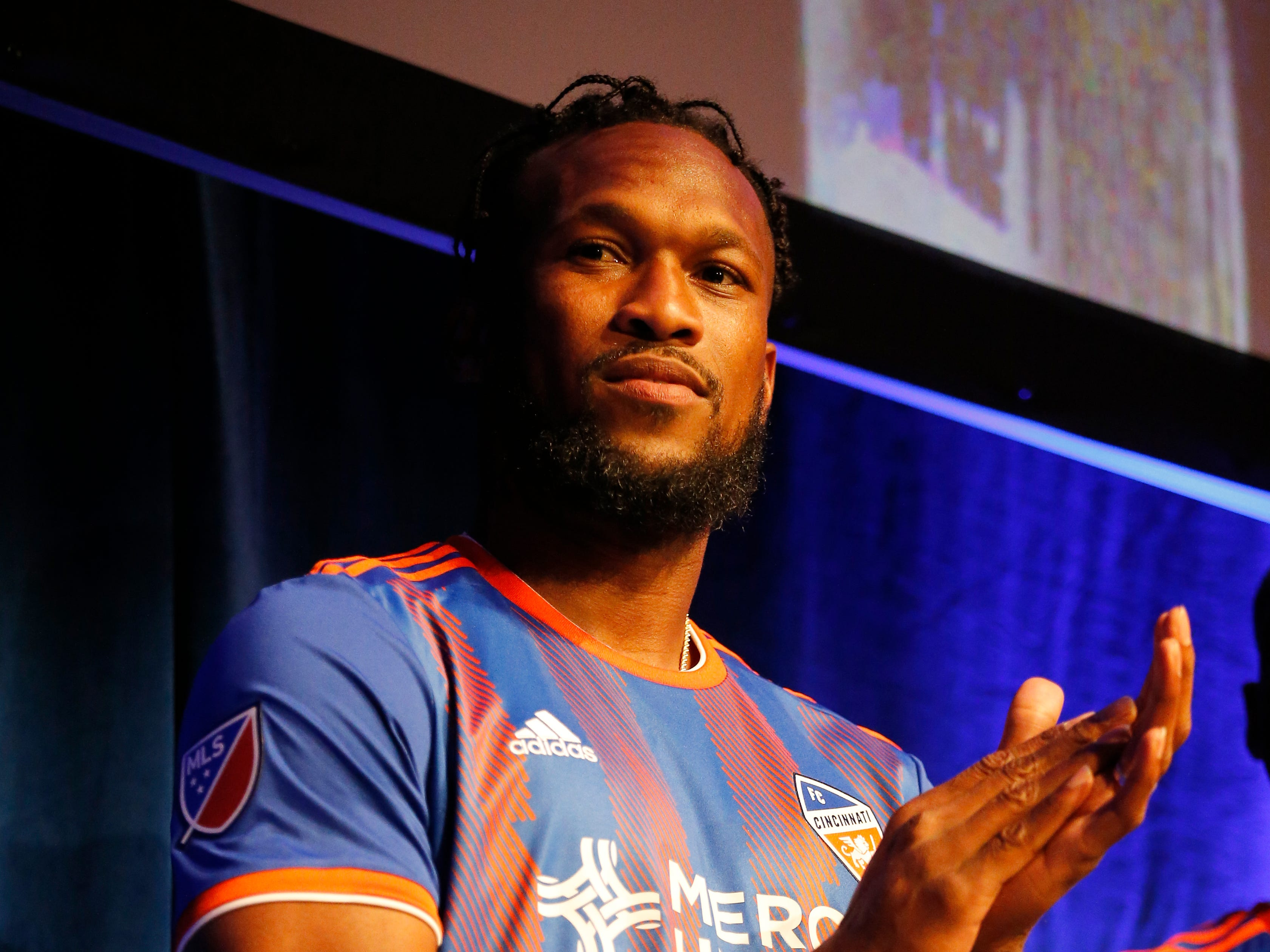 Kendall Waston wears his new jersey during an event to unveil FC Cincinnati's jersey for the team's inaugural season in Major League Soccer at the Music Hall Ballroom in the Over-the-Rhine neighborhood of Cincinnati on Monday, Feb. 11, 2019.