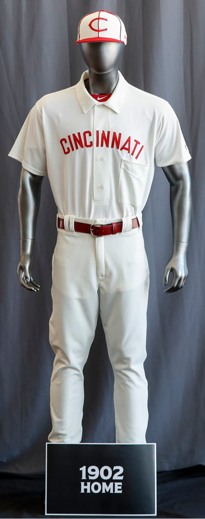 "Check out the entire Cincinnati Reds baseball team uniform lineup for the 2019 season. The Reds will play games in 15 sets of throwback uniforms, including navy blue and a ""Palm Beach"" style, during a season-long celebration of the 1869 Red Stockings who pioneered professional baseball."