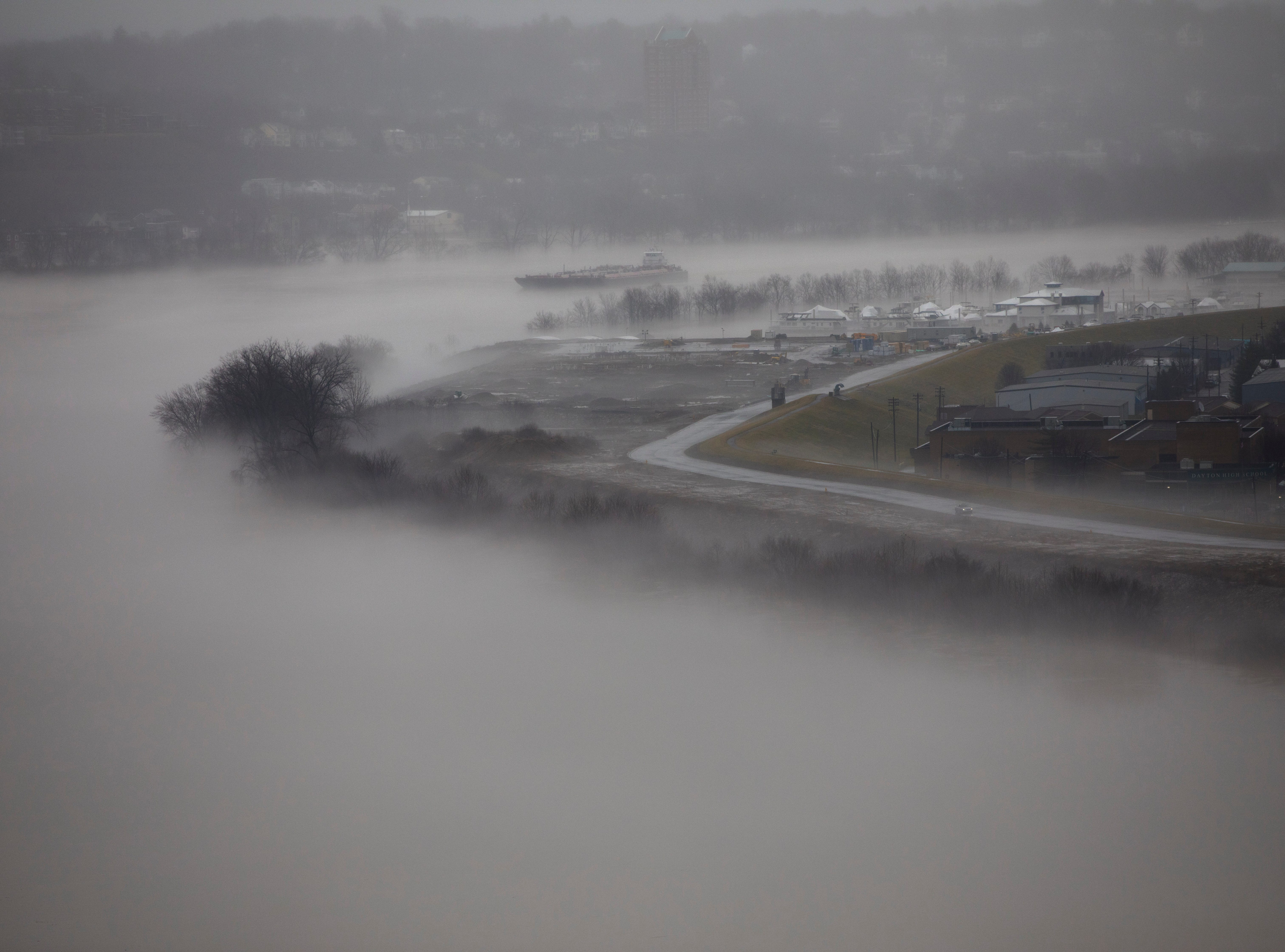 A view of the Ohio River from Eden Park on Tuesday, Feb. 12, 2019. The Ohio River is expected to crest at 56.3 feet at 1 a.m. Wednesday, Feb. 13.