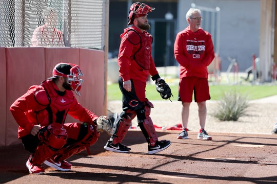 Cincinnati Reds catcher Tucker Barnhart participates in informal workouts on report day, Tuesday, Feb. 12, 2019, at the Cincinnati Reds spring training facility in Goodyear, Arizona.