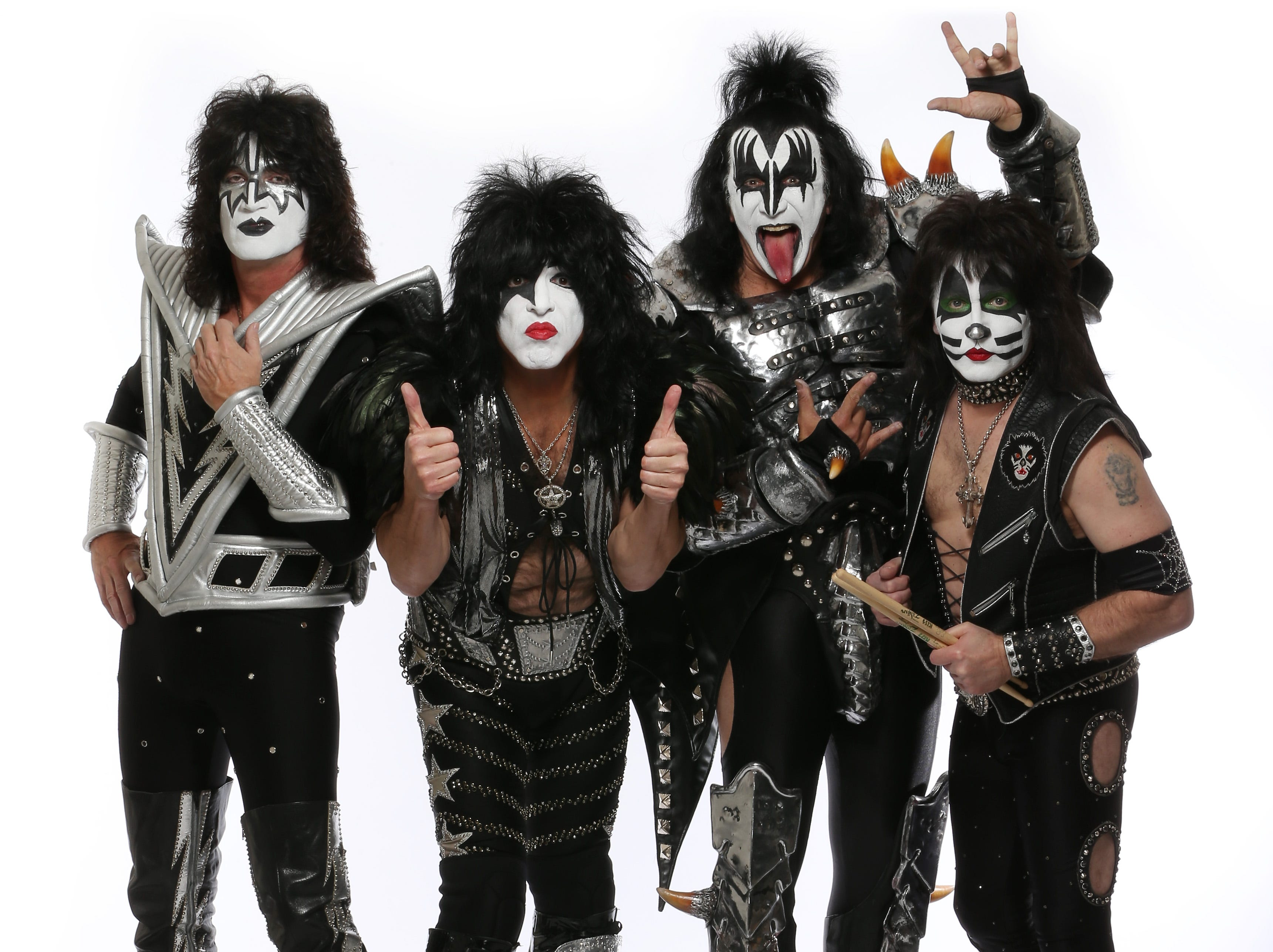 Dan MacMedan, USA TODAY The current lineup is Tommy Thayer, left, Paul Stanley, Gene Simmons and Eric Singer. 2/14/14 9:46:36 PM -- West Hollywood, CA, U.S.A  -- Members of the rock band KISS:  Paul Stanley (The Star Child), Gene Simmons (The Demon) , Eric Singer (The Catman), Tommy Thayer ( The Spaceman) pose in full makeup and costume before playing at the House of Blues in West Hollywood, CA. Photographed at the Mondrian Hotel in West Hollywood --    Photo by Dan MacMedan, USA TODAY contract photographer  ORG XMIT:  DM 130691 KISS 2/14/2014 [Via MerlinFTP Drop]