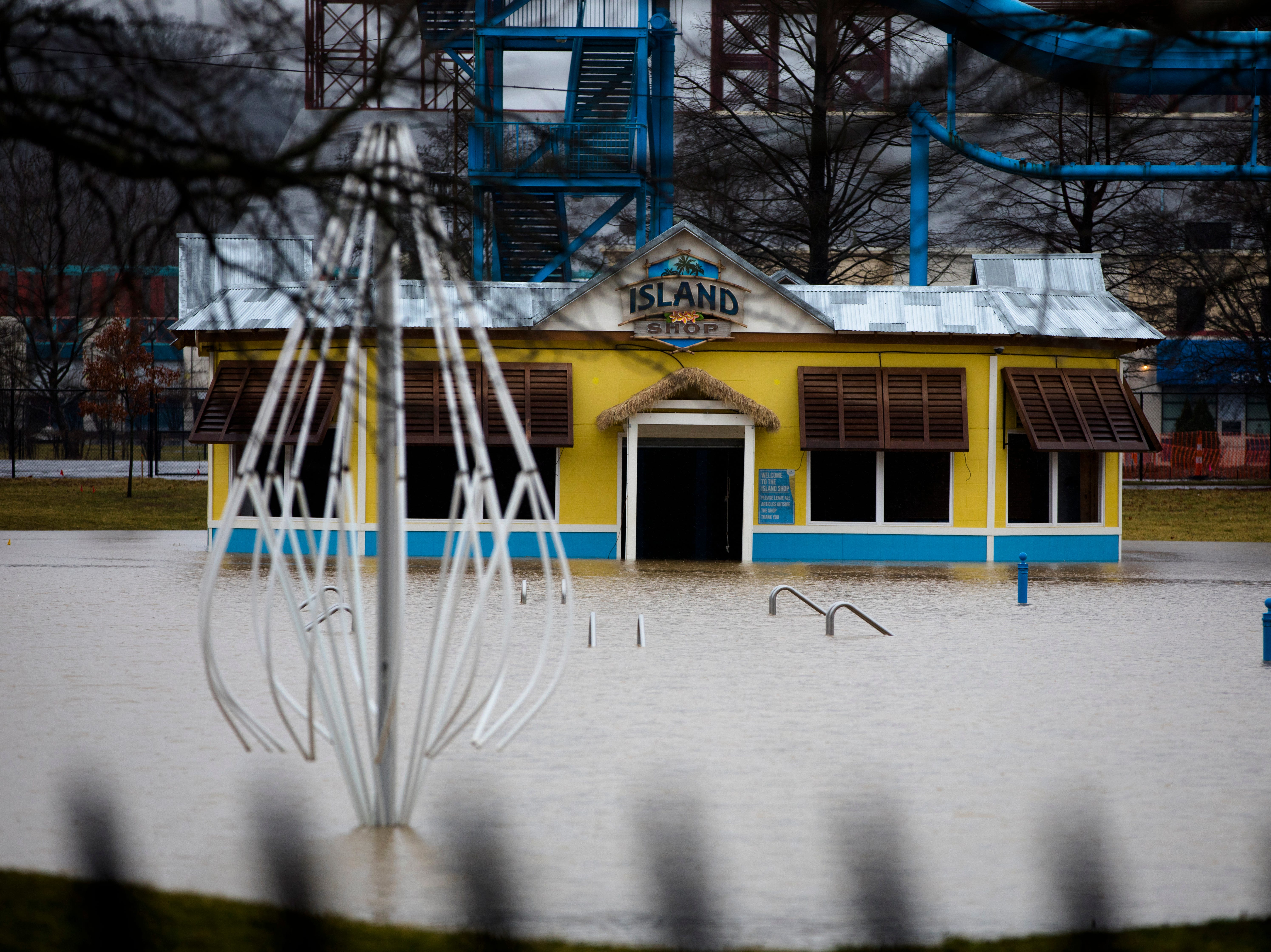 Water fills parts of Coney Island park off Kellogg Avenue on Tuesday, Feb. 12, 2019.