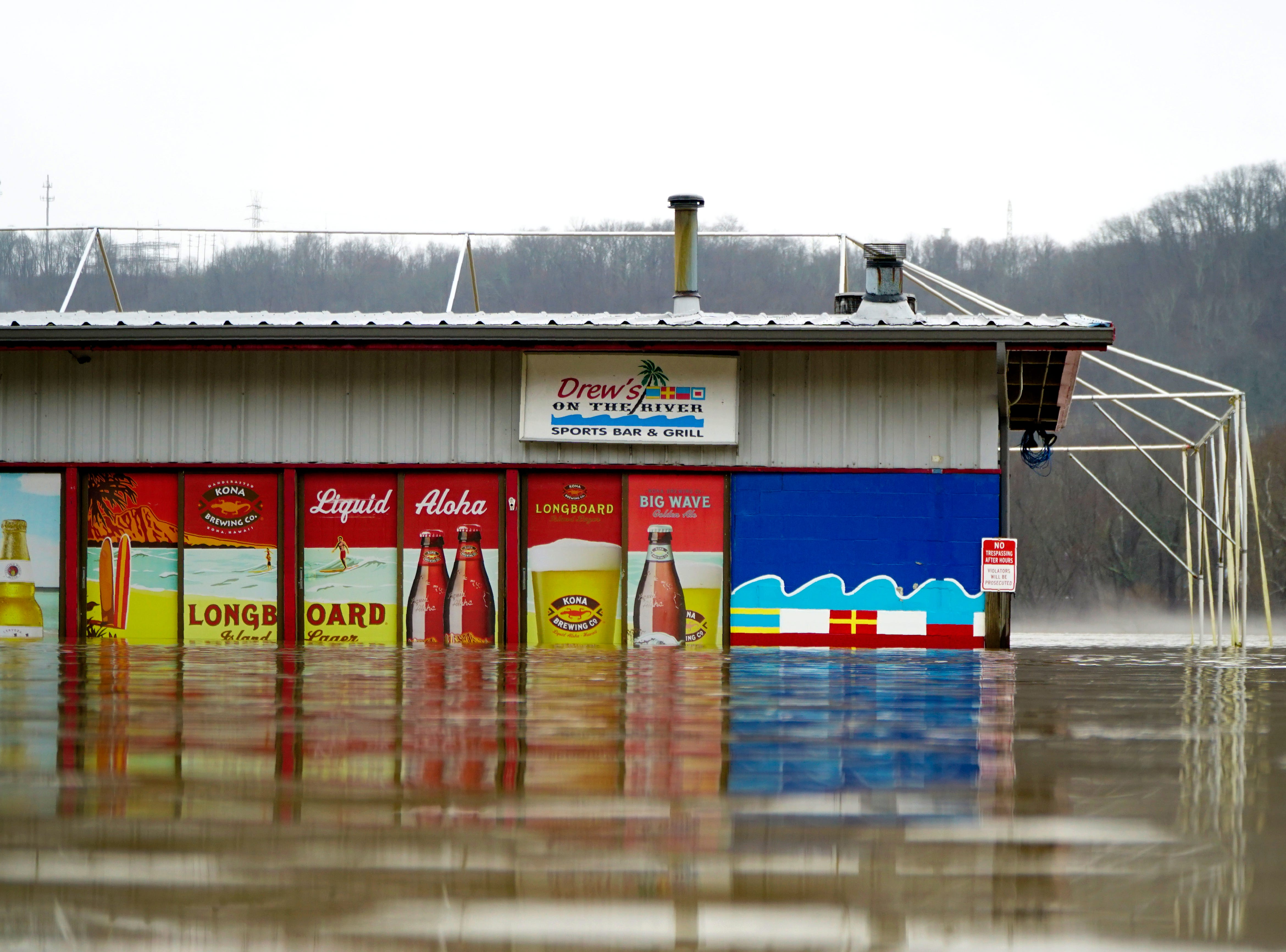 Drew's on The River was already closed for the winter as floodwaters submerged the Riverside bar and restaurant,  Saturday, Feb. 12, 2019.