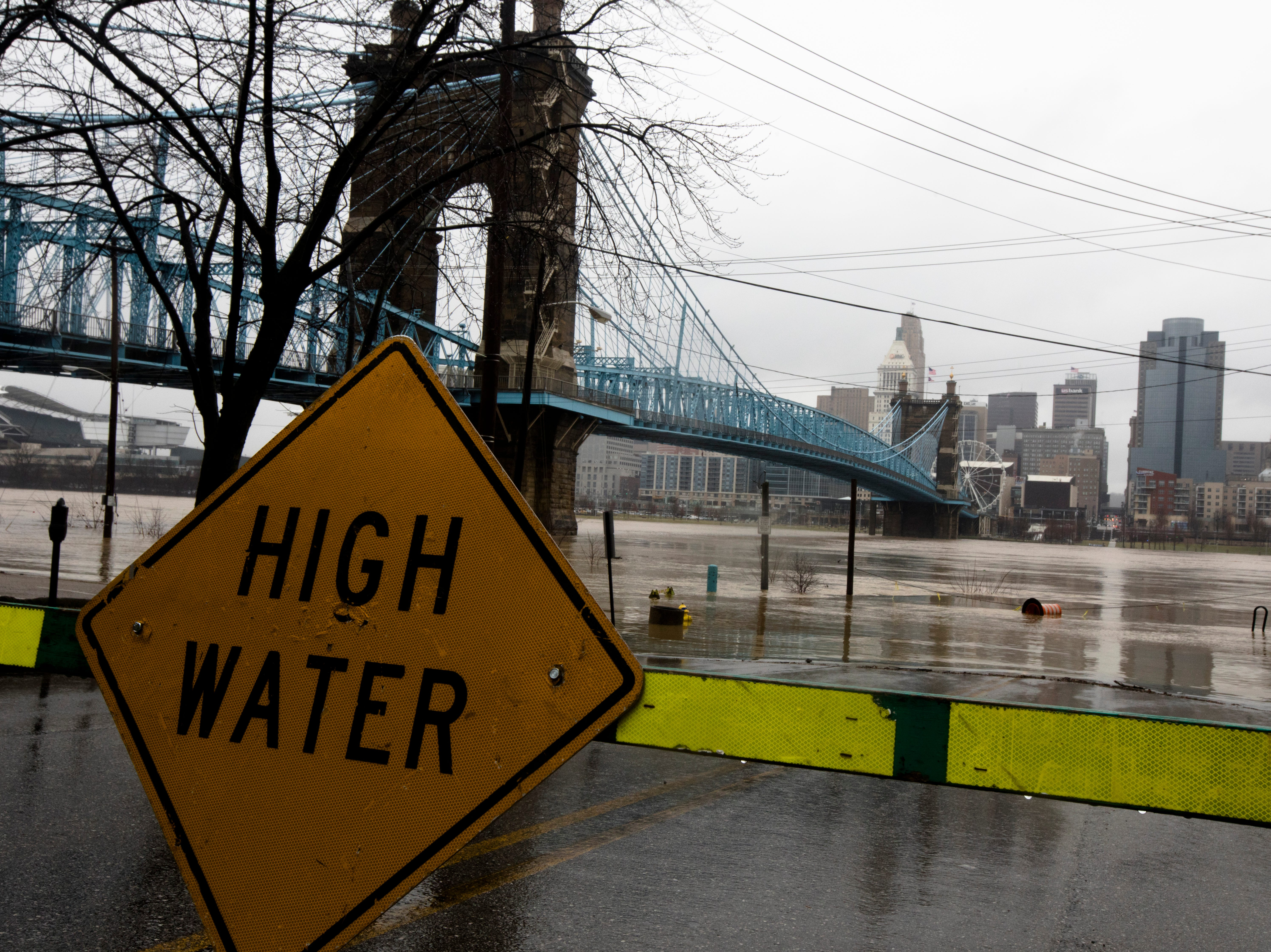 A section of River Drive in Covington is closed due to flooding on Tuesday, Feb. 12, 2019. The Ohio River is expected to crest at 56.3 feet at 1 a.m. Wednesday, Feb. 13.