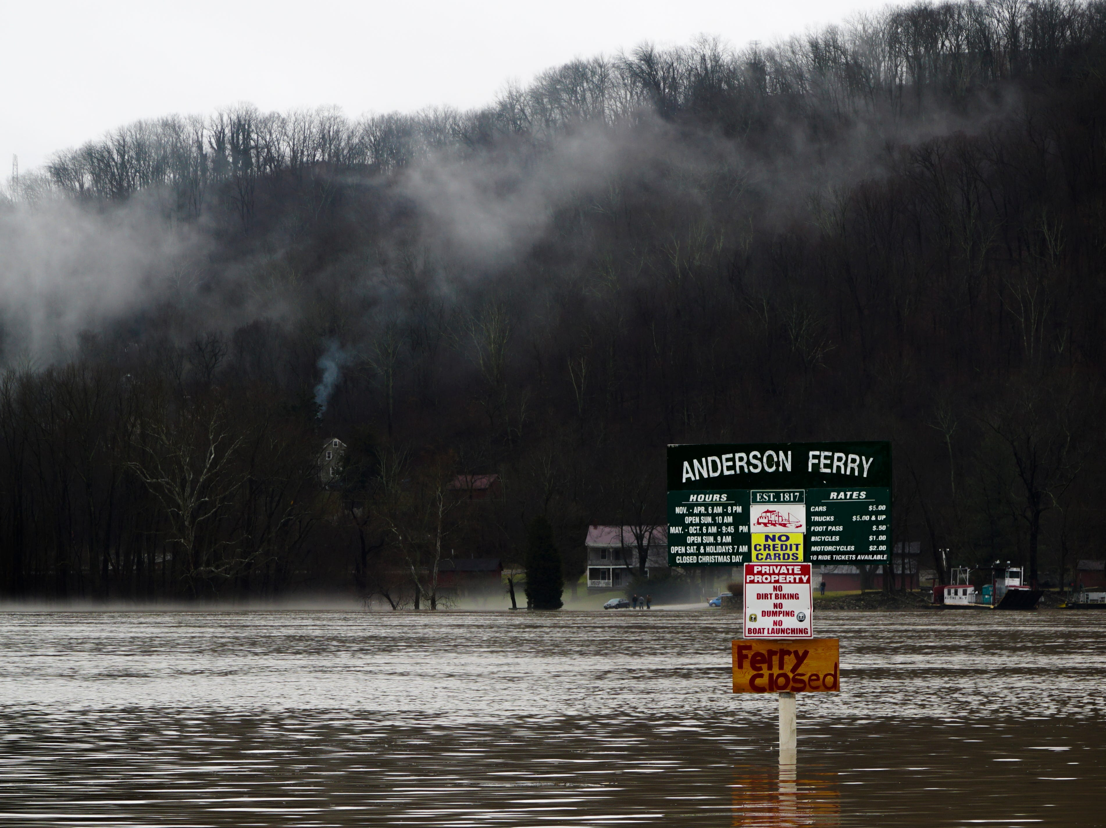 The Anderson Ferry, which has operated on the Ohio river for over 200 years, was closed due to high waters, Saturday, Feb. 12, 2019.