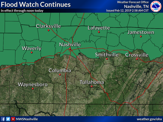 A flood watch is in effect until noon for Clarksville and northern parts of Middle Tennessee