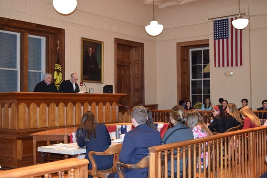 The Honorable Robert A. Ballard, J.S.C.  and the Honorable Michael F. O' Neill, J.S.C. preside over the final round of the  2019 Hunterdon County Mock Trial Competition held at the Historic Courthouse in Flemington.