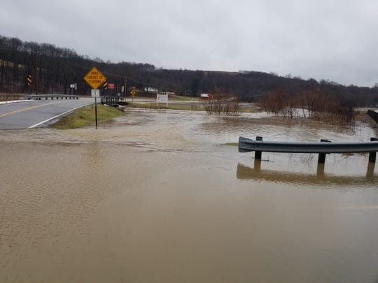 High water across the road at Ohio 83 and County Road 1 about noon on Tuesday.