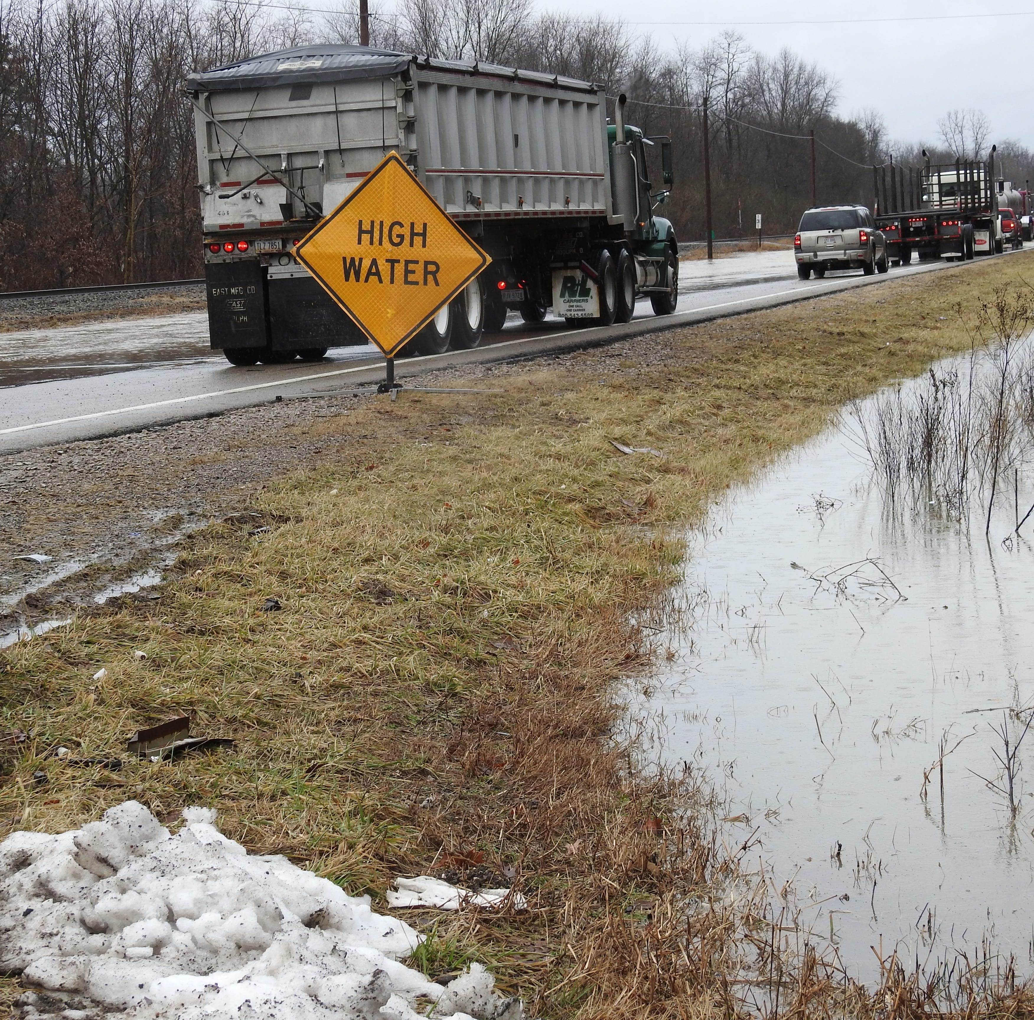 High water covers roads, Ohio 16 westbound closed