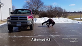 It took this Muscatine resident a couple tries to perfect his ice-sliding moves.