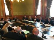 Members of the Senate Judiciary Committee consider a bill that would change how judges are nominated in Iowa on Monday, Feb. 11, 2019.