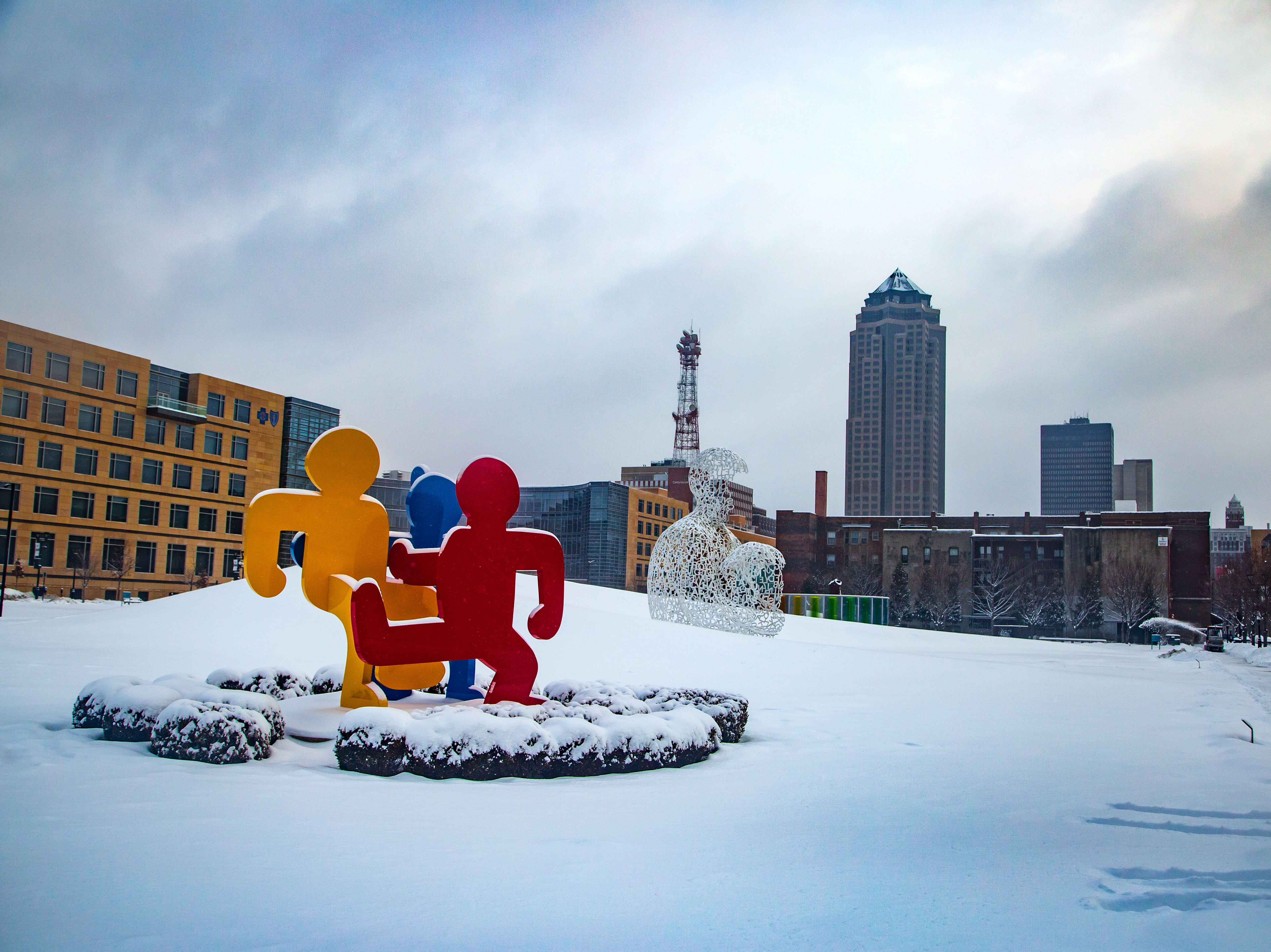 A fresh coat of snow blankets the Pappajohn Sculpture Park Tuesday, Feb. 12, 2019.