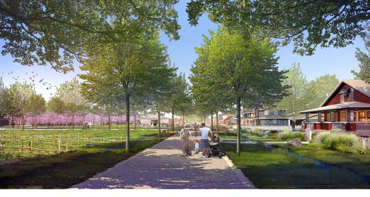One large Middlebrook neighborhood features a greenway path running through it, with gardens, trails and a community venue anchoring it. Altogether, the plan calls for a broad mix of about 700 homes in the project.