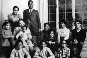 The family of Percy and Lileah Harris, shown here in their Cedar Rapids home in 1968. This photo originally appeared in a Maytag advertisement in Ebony magazine.