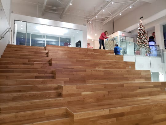 The social stairs at ESO Solution's downtown Des Moines office lets all of its employees gather to teleconference with the company's headquarters in Austin.
