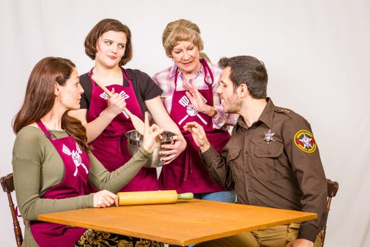 "Larissa Klinger, Emily Hadick, Mary Robin Roth and Cory Cunningham in Meadow Brook's production of ""The Spitfire Grill."""