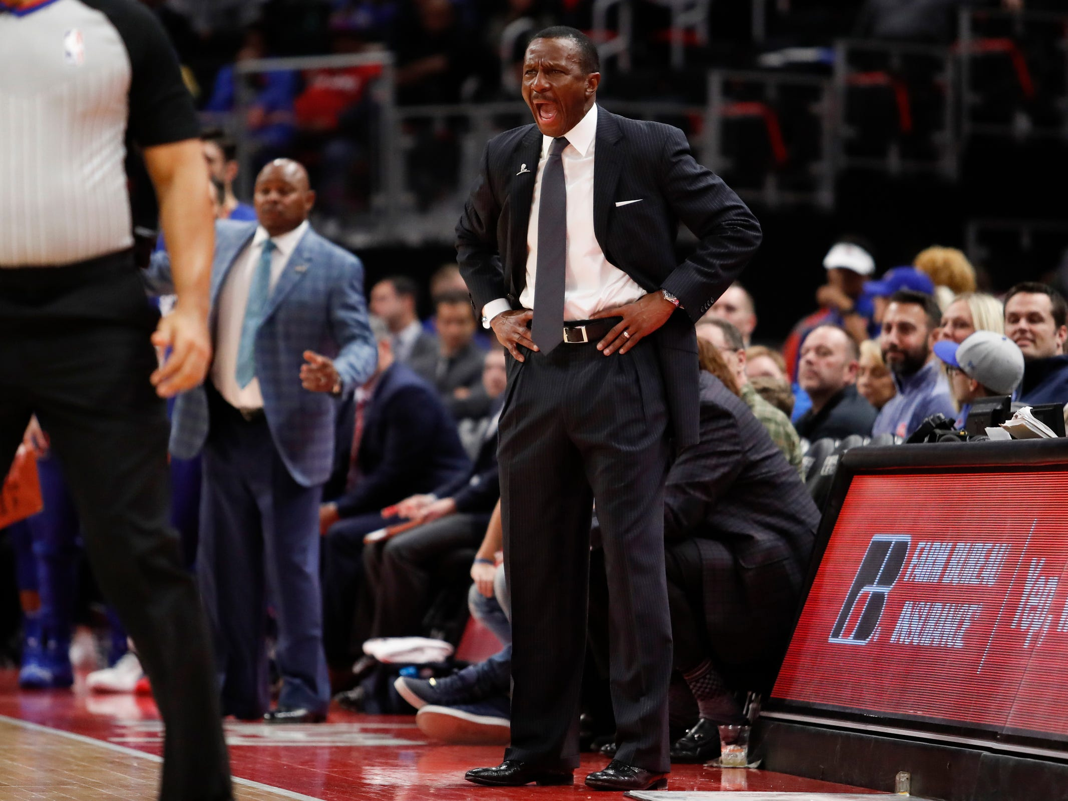 Detroit Pistons head coach Dwane Casey yells during the second quarter against the Washington Wizards at Little Caesars Arena, Feb. 11, 2019.