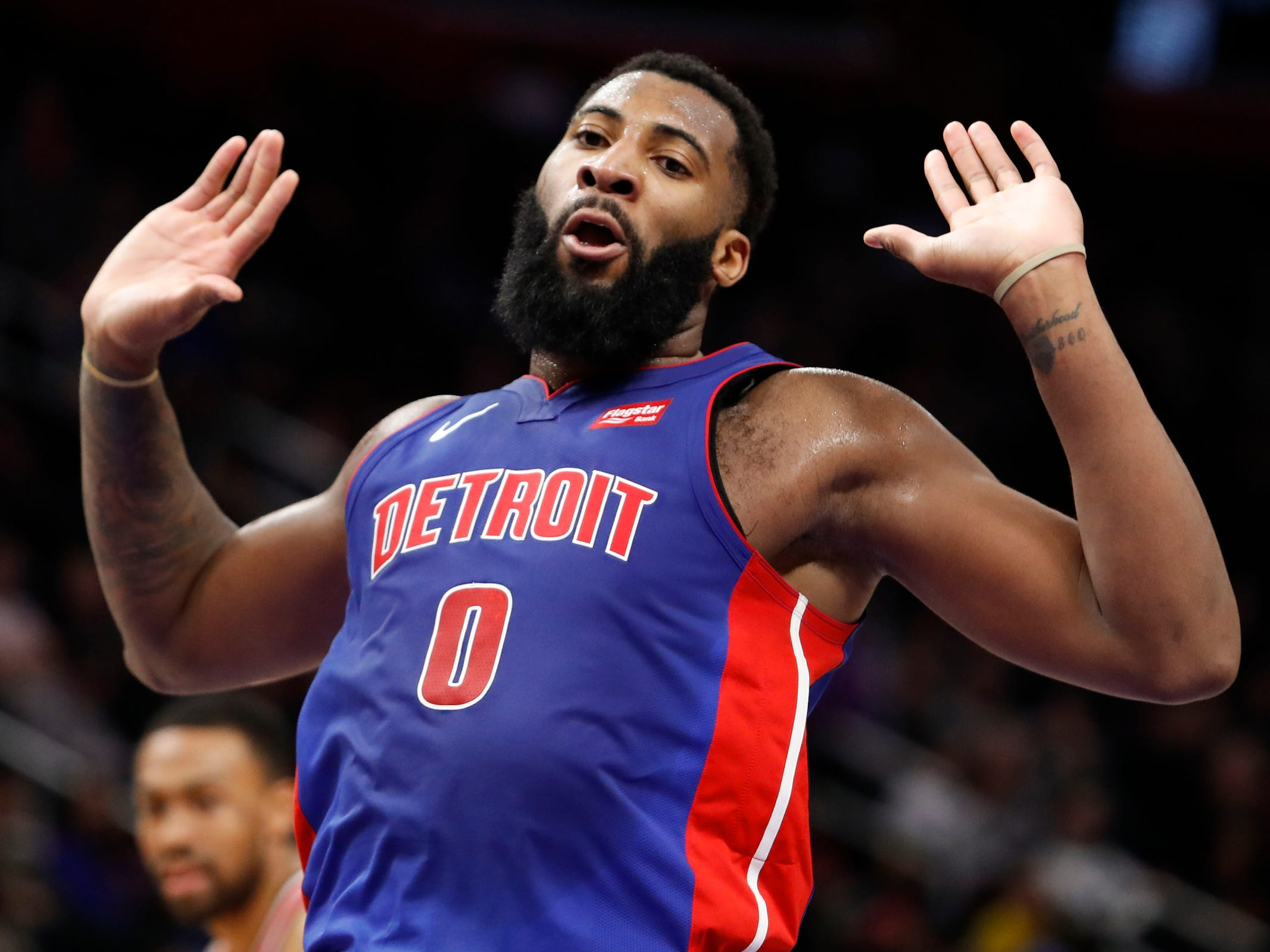 Detroit Pistons center Andre Drummond celebrates after scoring during the third quarter against the Washington Wizards at Little Caesars Arena, Feb. 11, 2019.