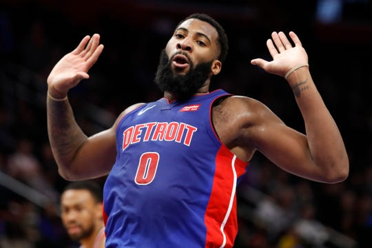 Andre Drummond celebrates after scoring during the third quarter against the Wizards at Little Caesars Arena on Monday.