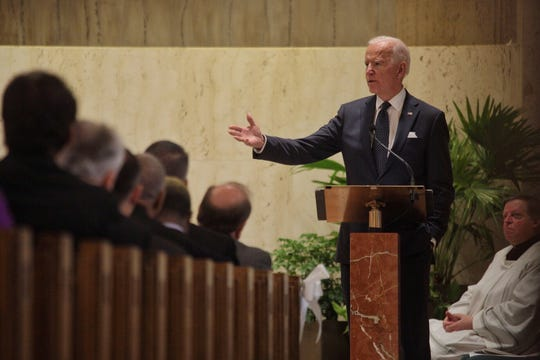 Former Vice President Joe Biden speaks during the funeral for former U.S. Rep. John Dingell at Church of the Divine Child in Dearborn on Tuesday, February 12, 2019.