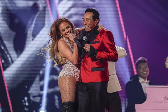 Jennifer Lopez and Smokey Robinson perform during the 61st Grammy Awards at Staples Center in Los Angeles on Sunday, Feb. 10, 2019.