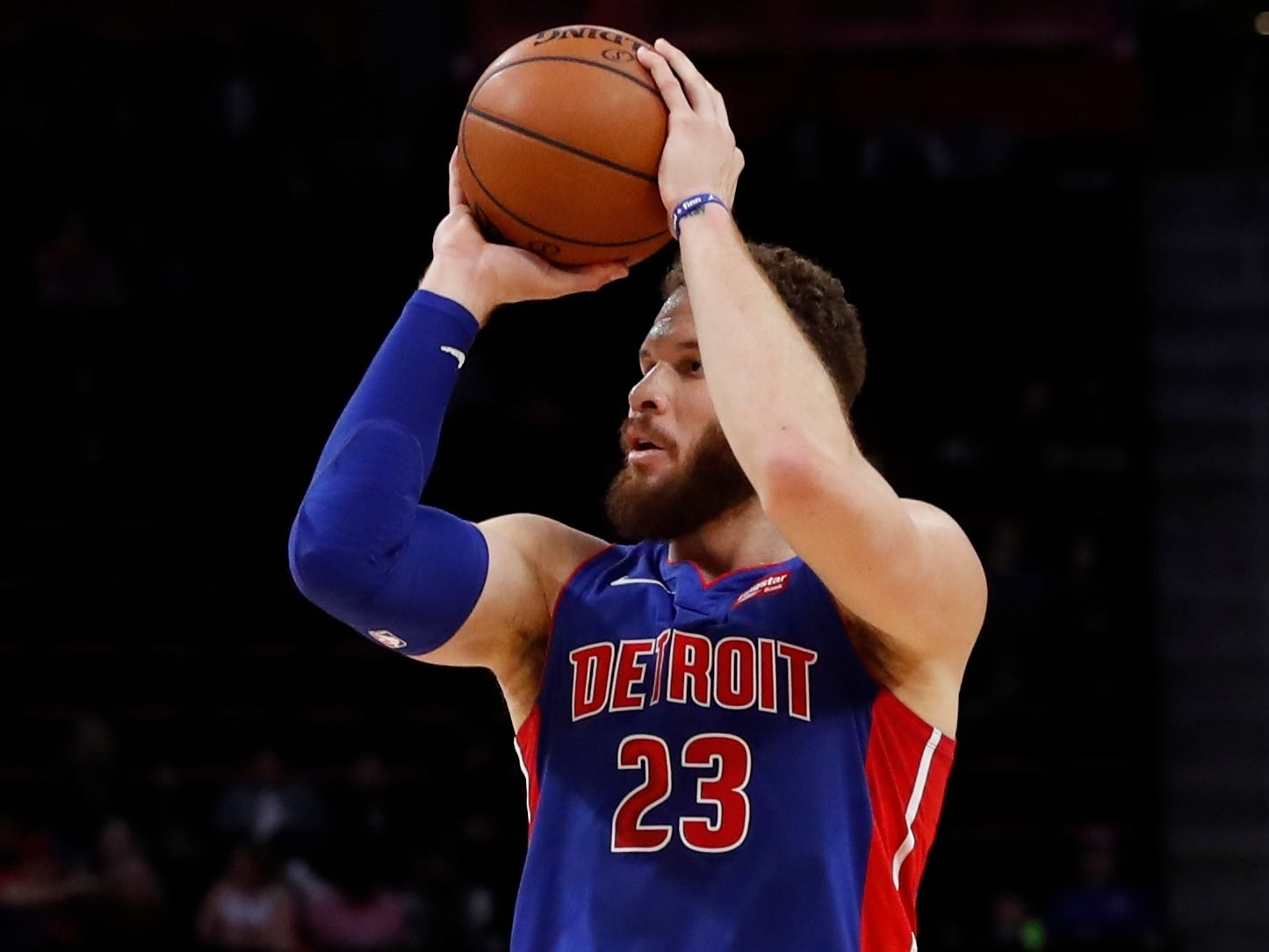 Detroit Pistons forward Blake Griffin shoots during the first half against the Washington Wizards, Monday, Feb. 11, 2019, in Detroit.