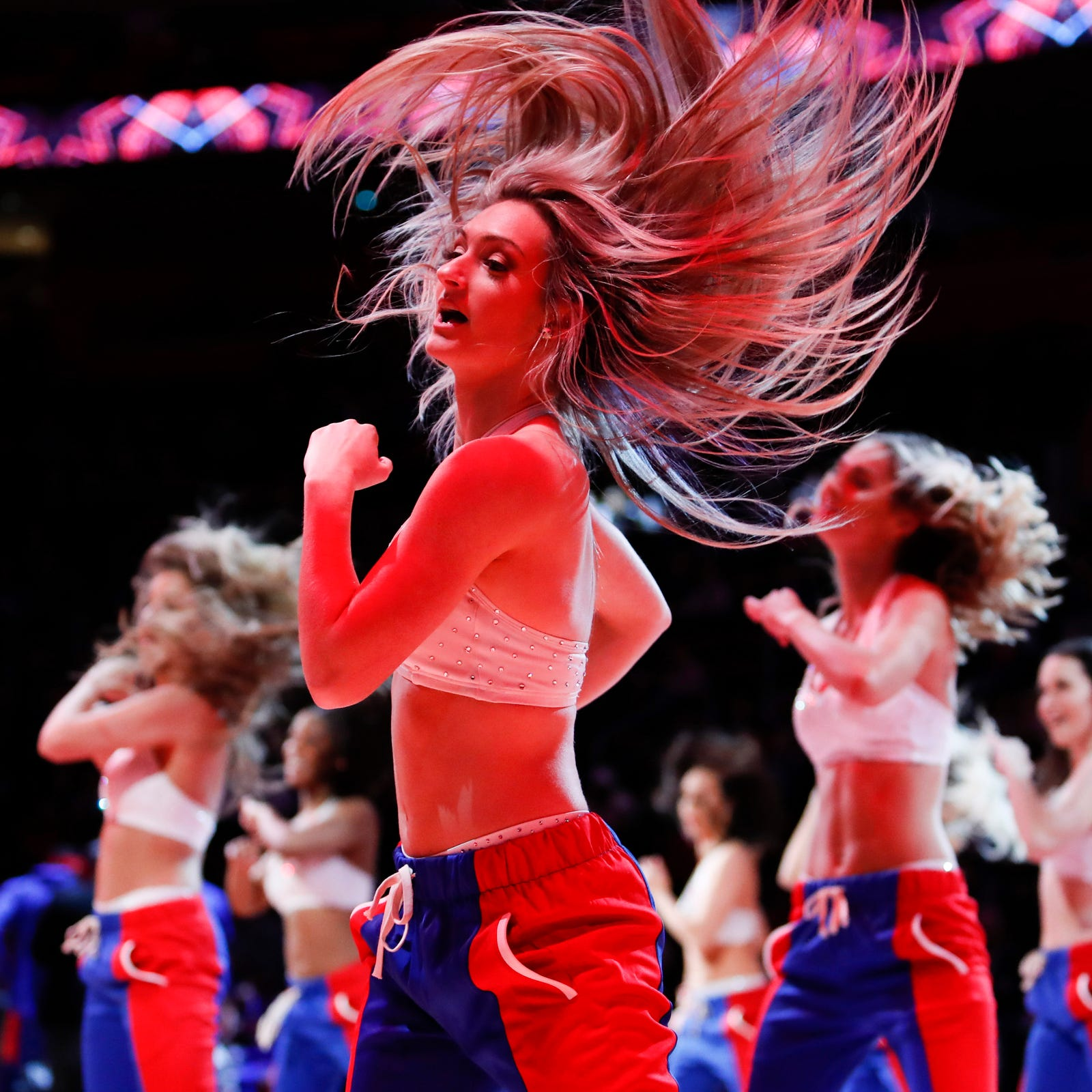 Detroit Pistons dancers get engaged during game at Little Caesars Arena