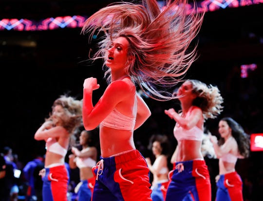 Pistons dancers perform during the game against the Milwaukee Bucks at Little Caesars Arena on Jan. 29, 2019.