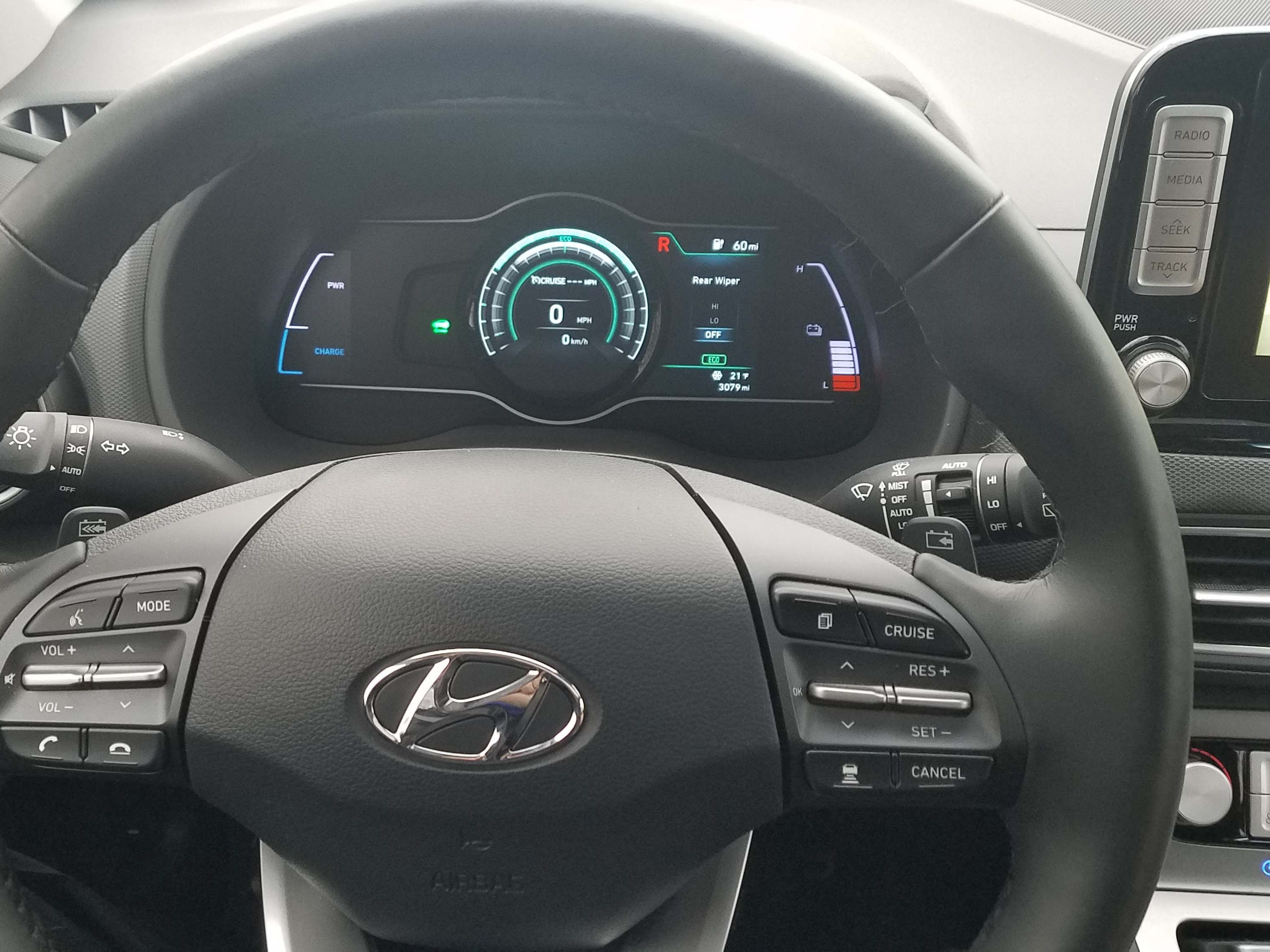 The 2019 Hyundai Kona EV is nicely appointed inside with a configurable instrument display and loads of features, from Adaptive Cruise Control to smartphone app compatibility.